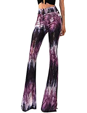 U-shot Lady 70s de Bell Bottom alta cintura elástico Boho Flare pantalones largos