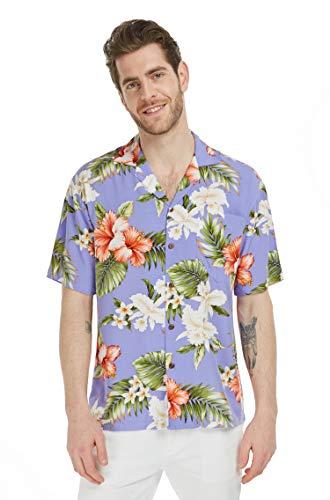 bb1ddb1b6 Made in Hawaii Herren Hawaii Hemd Aloha Hemd Orchideen Hibiskus in Olive -  Violett - Klein
