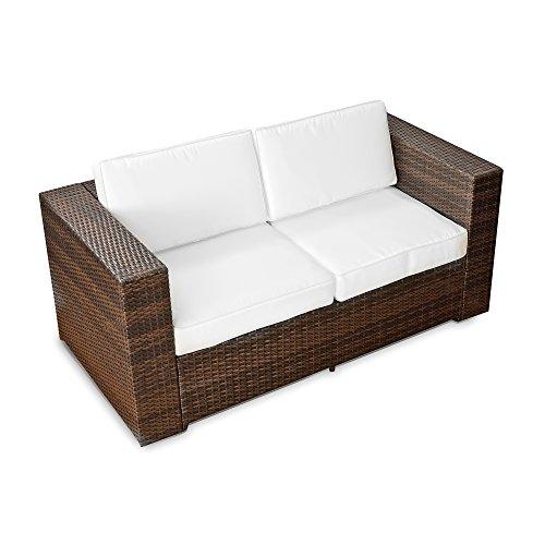 XINRO (2er) Polyrattan Lounge Sofa - Gartenmöbel Couch Bank Rattan - durch andere Polyrattan Lounge Gartenmöbel Elemente erweiterbar - In/Outdoor - handgeflochten - braun