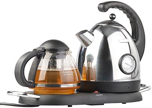 Rosenstein & Söhne Teekanne elektrisch: Edelstahl-Wasserkocher WSK-300.set mit Teekanne (Teestation mit Wasserkocher)