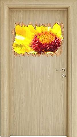 gelbe Blüte Malerei Effekt Holzdurchbruch im 3D-Look , Wand- oder Türaufkleber Format: 62x42cm, Wandsticker, Wandtattoo, Wanddekoration