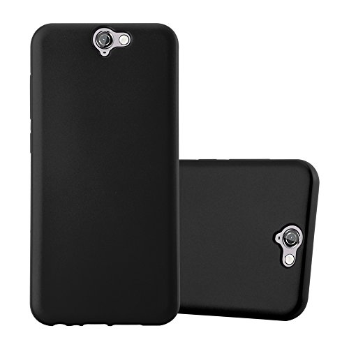 Cadorabo Hülle für HTC ONE A9 - Hülle in METALLIC SCHWARZ - Handyhülle aus TPU Silikon im Matt Metallic Design - Silikonhülle Schutzhülle Ultra Slim Soft Back Cover Case Bumper
