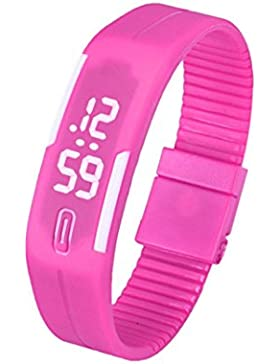 FEITONG Mode Damenuhr Herrenuhr Silikon LED Uhr Datum Sports Digital Armbanduhr Heißes Rosa
