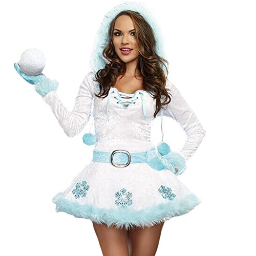 (Costour Damen Schneemann Kostüm Weihnachten Kostüm mit Kapuze für Karneval Fasching Party)