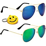 Elligator Sunglasses combo(Set of 2) with smiley keychain