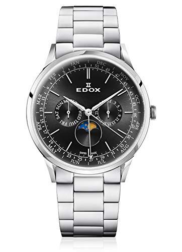 Edox Orologio da polso da uomo Les Vauberts Moon Phase Complication, con calendario e fasi lunari, analogico, al quarzo, 40101 3 m NIN