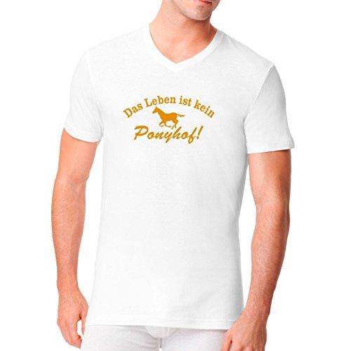 Fun Sprüche Männer V-Neck Shirt - Spruch: Leben ist kein Ponyhof by Im-Shirt Weiß