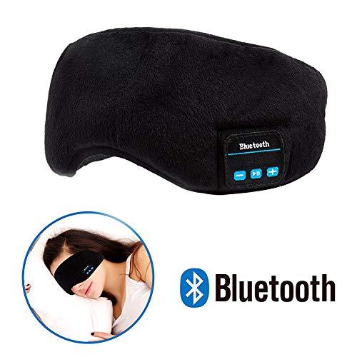 Preisvergleich Produktbild Bluetooth Schlafmaske, YI-GOG Augenmaske mit Wireless Bluetooth 4.2 Hifi Kopfhörer Schlafbrille mit Drahtlose Lautsprecher Musik Headset für Flugzeug Schlafen Reisen Entspannung, für iPhone iPad iPod Samsung und alle andere Geräte(Schwarz)