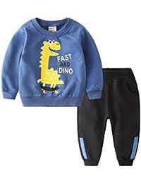 Coralup Chándales de camuflaje para niños pequeños + pantalones 2 piezas de algodón para niños conjuntos de ropa verde 5-6 años