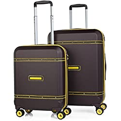 VICTORIO & LUCCHINO - 56000 Juego set 2 Maletas trolley 50/60 cm ABS con embellecedor. Rígidas, ligeras y resistentes. Mango telescópico, 2 asas 4 ruedas. Candado TSA. Pequeña low cost, Color Marron
