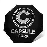 Capsule Corp Dragon Ball Z Windproof Compact Auto Open and Close Folding Umbrella,Automatic Foldable Travel Parasol Umbrella