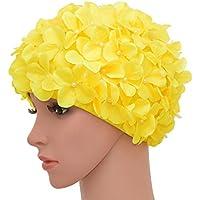 medifier Vintage Floral Petal Retro gorros de natación gorros de baño para las mujeres, amarillo