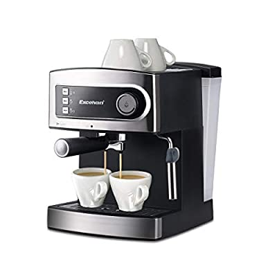 Excelvan 15 Bar Pump Espresso Coffee Maker, Italian Style Coffee Machine with Steam Wand, Measuring Spoon for Hot Drinks, Cappuccino & Home by Excelvan