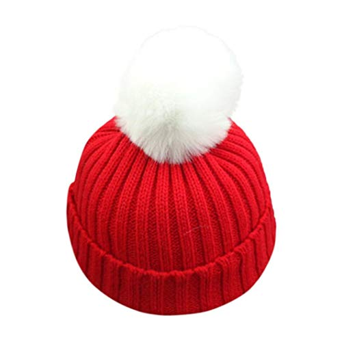 "Voberry Unisex-Baby Boy Knitted Lovely Soft Fur Pom Beanie Hat Crochet Cap Hat Circumference:48cm-54cm/18.9-21.3"" Red"