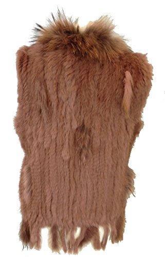 fashion&DU Luxus Damen Ärmellose Fellweste Echtfell ECHT Kaninchen FELL PELZ WESTE One Size passt 36 38 40 42 in *20 Farben* Pink Violet_13#