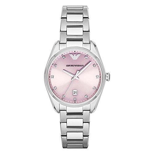 Emporio Armani Reloj de cuarzo para mujer con rosa Esfera Analógica Pantalla y Pulsera de acero inoxidable (Plata ar6063