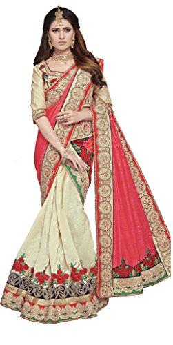 S. Kiran's Women's Designer Biege Mekhela Red Chador - Mekhla Sador Joda
