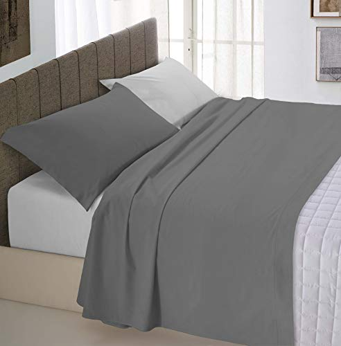 Italian bed linen natural color completo letto double face, 100% cotone, una federa, grigio chiaro/fumo, una piazza e mezza