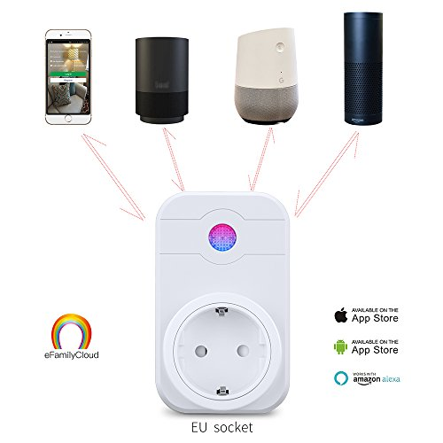 Smart Wifi Steckdose Kompatibel mit Amazon Alexa WLAN Home smart socket Plug intelligente Funksteckdose Fernbedienung Switch mit Timer Funktion Sprachsteuerung und Smartphone App-Steuerung
