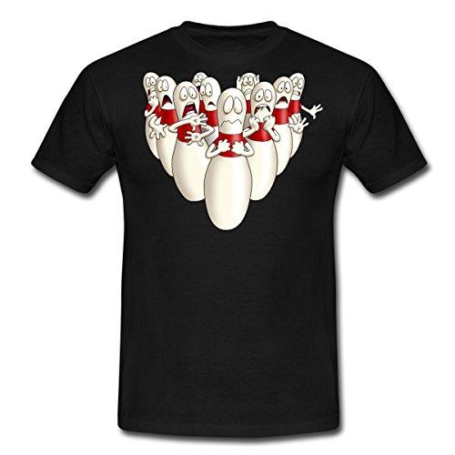 Bowling T-shirt-designs (Spreadshirt Kegeln Bowling Pins Kegel Haben Angst RAHMENLOS Männer T-Shirt, M, Schwarz)