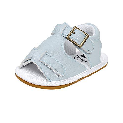 feiXIANG Unisex-Kinder Sandalen Baby Jungen Mädchen Freizeitschuhe weiche Sohle Slingback PU Leder Sportschuhe (Himmelblau,12-18 Monat=13) -
