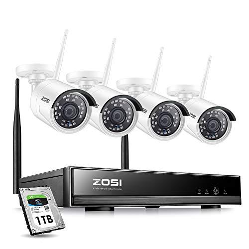 ZOSI Außen WLAN 1080P Überwachungssystem 8CH NVR mit 4 HD 1080P Funk Überwachungskamera Set mit 1TB Festplatte, Onlinezugriff, Bewegungserkennung mit E-Mail-Alarm, 20M IR Nachtsicht
