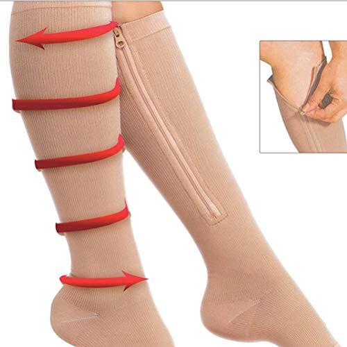 Qeedio Kompressionsstrümpfe mit Reißverschluss, Kompressions-Beinbandage, Unisex, offene Zehen, für Durchblutung, Regeneration, abgestufte sportliche Passform, für Reisen, Laufen, L/XL
