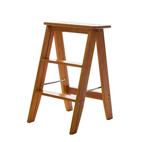 Blumentreppen Leiter Holz Trittleiter Home Multifunktions-Klappleiter Indoor Loft Verdickung Leiter Stuhl DREI Stufen Lastgewicht 150kg (Color : Brown, Size : 34 * 41 * 62cm)
