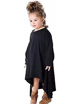 Vestido de niña, RETUROM Moda bebé manga larga de algodón sólido vestido giratorio