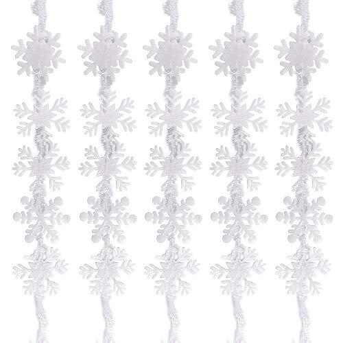 BUONDAC 5 STK Schneeflocken Girlande Dekoration weiß Schneesterne Weihnachten Weihnachtsdeko Fenster Weihnachtsbaum Anhänger Fensterdeko Weihnachtsschmuck