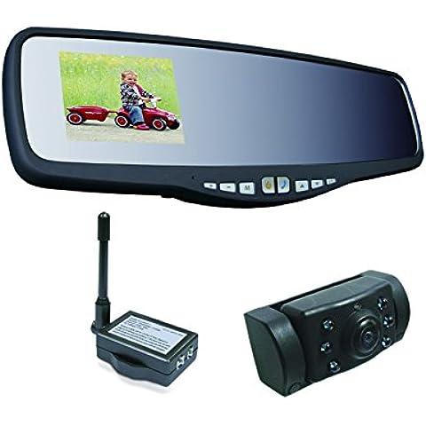 Pro-User 20118 APB220 Sistema de cámara inalámbrica para visión durante marcha atrás, pantalla integrada en espejo retrovisor interior, con Bluetooth y manos libres
