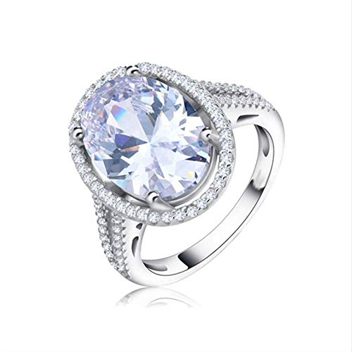J-Z Fashionring 6 Ct Big Oval Cut AAA Zirkon Ring mit Mikro Gepflasterten Cz Ring für Frauen Modeschmuck Weibliche Ringe, Ring, 8 - Cz Ringe Alle Herren