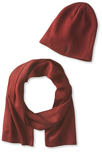 us-polo-assn-mens-solid-beanie-and-scarf-set-burgundy-one-size