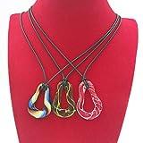Ecloud Shop 3 X 28*35 mm Cristal Murano corazón de la Manera Collar de los Colgantes