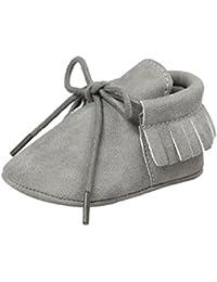 ESTAMICO Zapatos de cordones con borlas de suela suave para bebé niña mocasines bebé niño