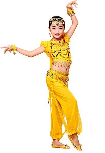 Grouptap Bollywood indische Kinder Mädchen Bharatanatyam Stil Bauchtanz Zweiteilige Gelb Kinder Kostüm Outfit Kostüm (130-150cm, - Bollywood Kind Kostüm