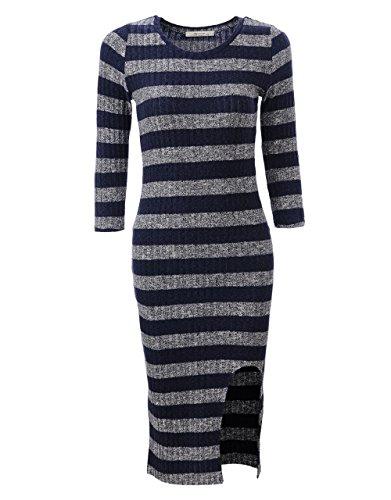 Glo-Story - Robe - Moulante - Femme Multicolore Bigarré XXL Bleu et blanc