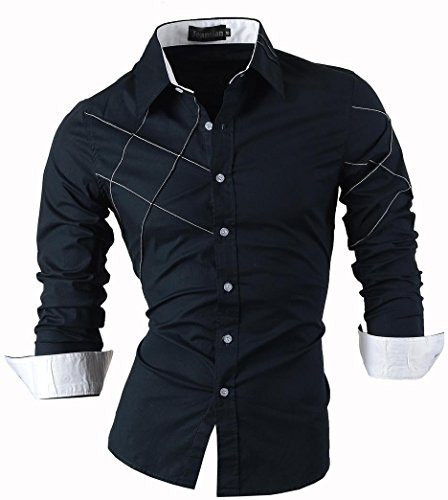 jeansian Uomo Camicie Maniche Lunghe Moda Men Shirts Slim Fit Causal Long Sleves Fashion 2028 Navy S
