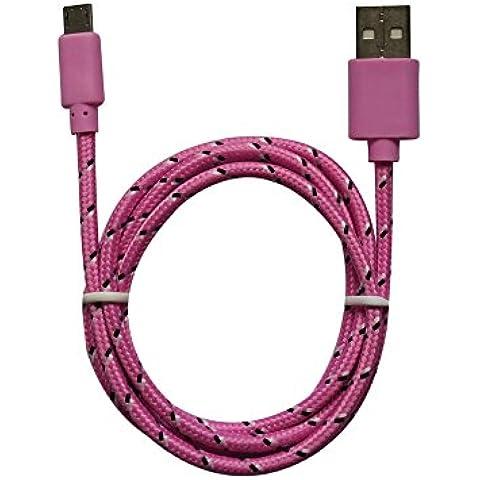 3m MicroUSB a USB de alta velocidad | Cable cargador y de datos | Cable de carga rápida con sección especialmente grande de 4,4 mm | Contactos recubiertos de oro 24 k | para Android, Samsung, HTC, Motorola, Nokia, LG, HP, Sony, Blackberry y