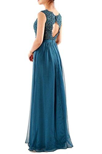 JAEDEN Damen Chiffon A Linie Ballkleider Lang Spitze Brautjungfernkleid Abendkleid Festkleid Minze