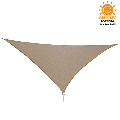 Vetrineinrete® tenda parasole a vela per terrazzo giardino ripara dal sole e raggi uv waterproof tendone triangolare 3,6 metri (tortora) g62