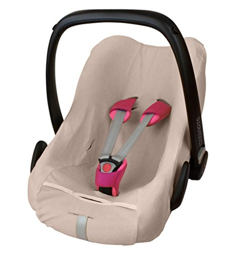 Preisvergleich Produktbild ByBoom® - Frottee Sommerbezug, Schonbezug für Babyschale, Autositz, z.B. Maxi Cosi CabrioFix, City, Pebble; Designed in Germany, MADE IN EU, Farbe:Beige