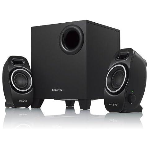 Creative A250 2.1 Lautsprecher-system (Ein/Aus -Schalter, Dual Slot Enclosure) schwarz (Pc Stereo Lautsprecher)