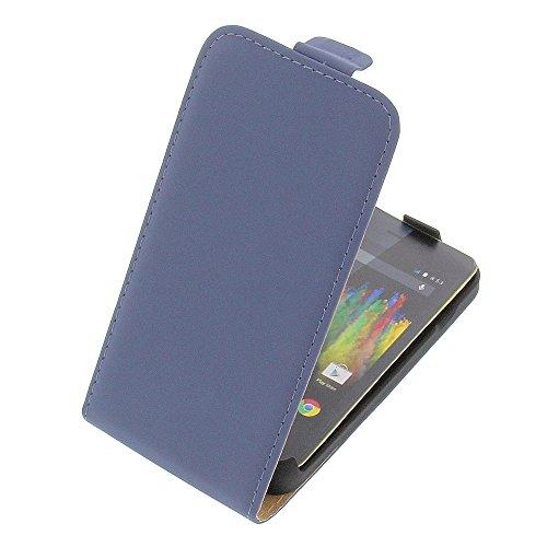 Tasche für Wiko Kite 4G Premium Flip Kunstleder blau