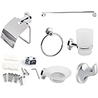 6 Accesorios de baño de Pared, Toallero, Porta Cepillo de Dientes, jabonera,
