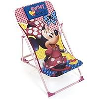 ARDITEX–Sillón de jardín/Playa Ajustable y Plegable para niños bajo Licencia Minnie Mouse en Metal, tamaño: 43x 66x 61cm, Tela, 61x 43x 66cm