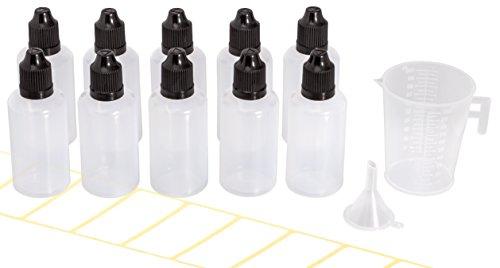 10x Tropfflasche 50ml mit gratis Trichter, Messbecher und Etiketten. Plastikflasche für E-Liquids und Flüssigkeiten