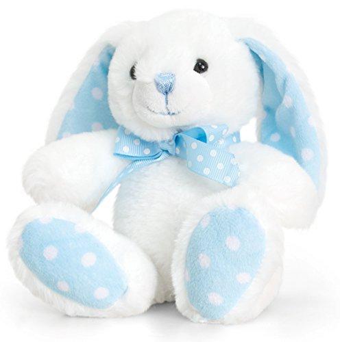 Lashuma Kuscheltier Kaninchen Blau - Weiß mit Schleife, Keel Baby Plüschtier Hase, Stofftier sitzend ca. 15 cm