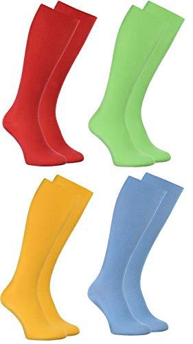 Rainbow Socks - Donna Uomo Calze Lunghe Al Ginocchio per Diabetici - 4 paia - Rosso Verde Turchese Giallo - Tamaño UE 44-46