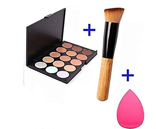 Susenstone 15 couleurs Maquillage Palette de Concealer Palette + Eponge Puff + Pinceau de Maquillage